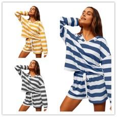 Fashion stripe casual Shorts Set