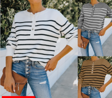Fashion loose Long Sleeve Striped T-shirt