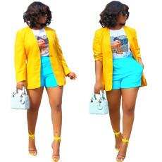 Solid color cardigan side split button coat