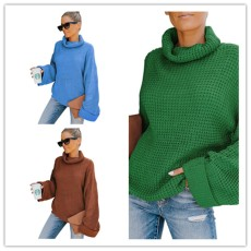 Wear high neck long sleeve knitted sweater