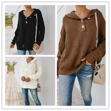 Fashion V-Neck long sleeve loose knit T-shirt