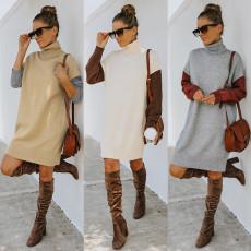 Fashion turtleneck sweater loose dress