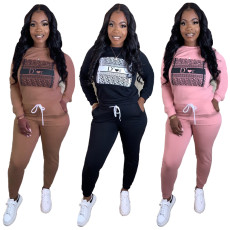 Long sleeve Imitation cotton casual two piece set