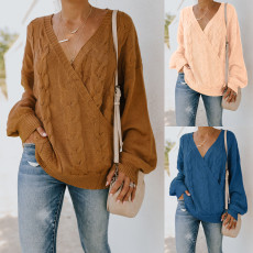 Fashion V-neck sexy loose sweater