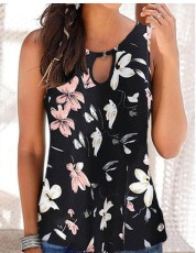Printed sleeveless floral holiday casual top