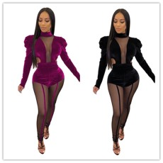 Two piece set of sexy mesh stitched with Korean velvet