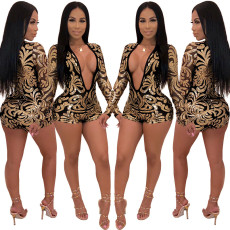 Fashion sexy deep V-neck printed Sequin Jumpsuit