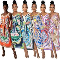 Print Sexy Halter split dress