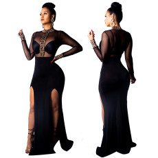 Mesh perspective two side split dress