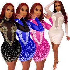 Hot drill sexy mesh nightclub dress