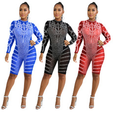 Hot drilling sexy mesh perspective Jumpsuit
