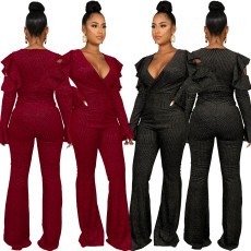 Sexy solid V-neck Ruffle Jumpsuit