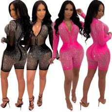 Hot drill mesh sexy long sleeve Jumpsuit