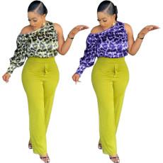 Fashion casual slant shoulder top (single top)