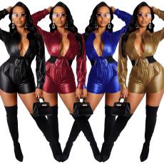 Fashion sexy deep V one piece leather pants