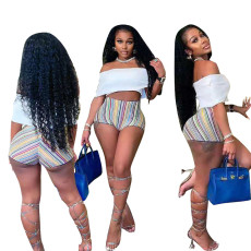 Fashion Rainbow Stripe shorts suit