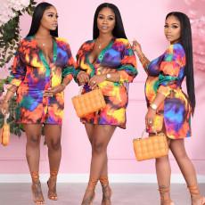 Fashion casual printed shirt dress