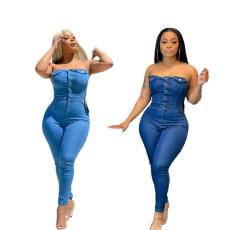 Fashion bra fit denim Jumpsuit