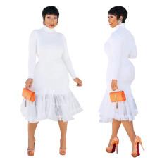 Round neck pure white medium length skirt