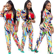 Bubble sleeve long sleeve pants printing suit