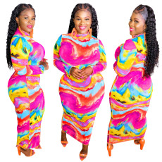 Printed Dress with high neck and buttock