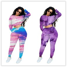 Fashion and leisure star tie dye suit