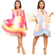 Gradient print flared sleeve dress