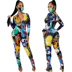 Sexy fashion digital printing Jumpsuit (without mask)
