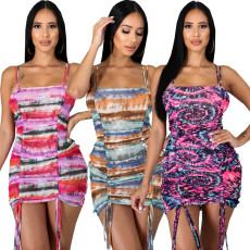 Sexy fashion suspender bra dress