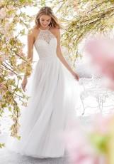 Sexy sleeveless wedding dress with neck