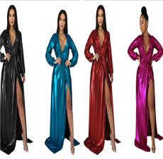 Sexy fashion evening gilded V-neck dress