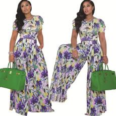 Fashion digital printing two piece wide leg set