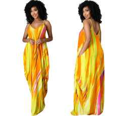 Fashion casual loose sleeveless V-neck dress
