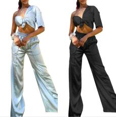 Two piece off shoulder shirt and wide leg pants