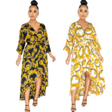 Sexy fashion digital print V-neck dress