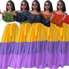 Elastic waist Lantern Sleeve contrast cake skirt dress