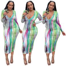 Fashion Print Long Sleeve Dress