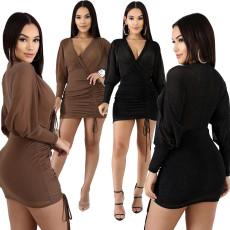 Sexy V-neck perspective nightclub dress