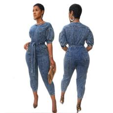 Denim print lace up Jumpsuit