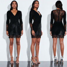 Sexy V-neck lace patched beaded dress