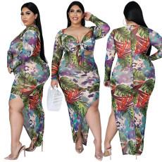Printed bandage diagonal dress