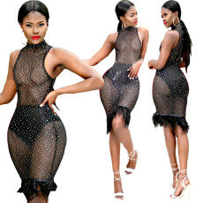 Fashion bronzing sexy mesh perspective dress