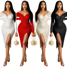 Fashion knitted sexy deep V off shoulder dress