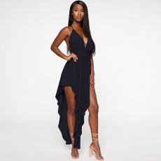 Sexy suspender backless dress