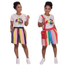 Lip top striped sweatpants set