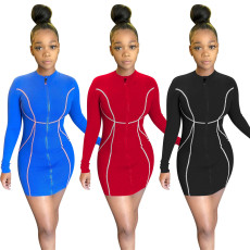 Solid zip Long Sleeve Dress