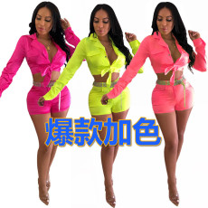 Fluorescent fashion suit two piece set