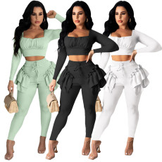 Solid color agaric edge bandage two piece set