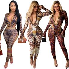 Fashion deep V Tight Sexy print suit