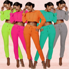 Fashion leisure solid color sports two piece set